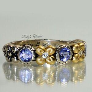 Barbara Bixby Tanzanite White Topaz Flower Sterling Silver 18k Gold Ring Size 7