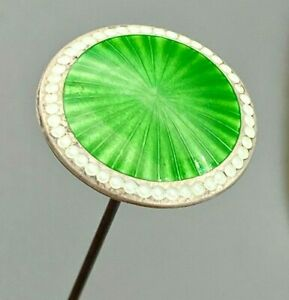 Antique Hatpin Pearly White and Spring Green Cloisonne Enamel. Sterling Lady