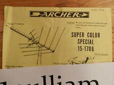 "VINTAGE 1976 ""Archer"" TV Antenna, Splitter - ORIGINAL Installation Instructions"