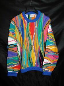 Vintage Coogi Australia XL Blue Red Purple Yellow Sweater Crew Neck Authentic XL
