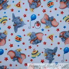 BonEful FABRIC FQ Cotton Quilt White Gray Elephant DUMBO Disney Circus Baby Boy