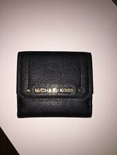 NWT MICHAEL KORS PEBBLED LEATHER HAYES MD PURSE WALLET BLACK