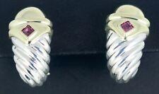 David Yurman 925 Sterling Silver 18K Gold Cable Shrimp Pink Rhodolite Earrings