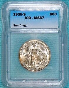 1935-S MS-67 California Pacific Internation Expo San Diego Silver 70,132 Minted