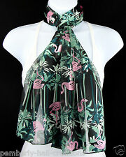 Pink Flamingo Womens Scarf Tropical Bird Black Scarfs Gift Her Scarves New