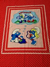 "Vintage Smurf's Fabric ""Smurf Fun"" Fabric Panel 46""H by 36""W 1982  Red/Blue"