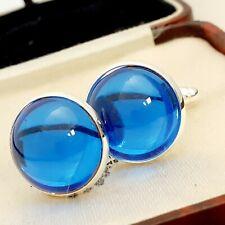 Vintage Sapphire Royal Blue Glass - Large Round Silvertone Cufflinks #S