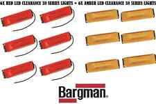 6X RED & 6X AMBER BARGMAN LED CLEARANCE SIDE MARKER LIGHT #38SERIE TRUCK TRAILER