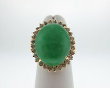 Vintage Estate Green Jade Diamonds Solid 14k Yellow Gold Large Cocktail Ring