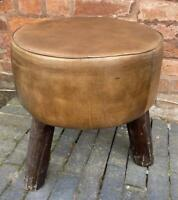 Brown Leather Round Stool - Rustic Wooden Legs - Vintage Style - 44cm x 40cm