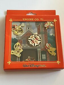 2008 New Disney Metal Set Of 5 Five Pins FIREFIGHTERS Mickey Pluto Goofy Donald