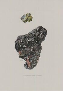 Uranpechblende Pechblende  Farbdruck 1967 Mineralien Gesteine C. Caspari