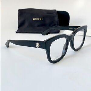 NEW PRP£259 GUCCI GG0033O 001 BLACK SQUARE PREPPY READING EYE GLASSES FRAME