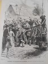 Gravure 1872 - Belgique Les jeux Populaires Kermesse