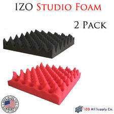 "2.5""x12""x12&#03 4; ( 2 Pack ) Red/Charcoal Acoustic Panels Wedge Studio Foam Tiles Egg"