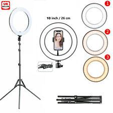 "10"" LED Ring Fill Light Studio Photo Video USB Dimmable Lamp Selfie Portable US"