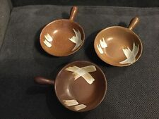 "Set of 3 Small Lug Bowls Pottery Pot Brown Splash 6"" to Handle & 4"" in Diameter"