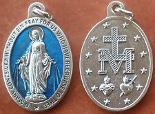 "Miraculous Medal of Immaculate Conception Medal + 1-1/2"" Blue Enamel Silver-tone"