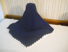 Kyle & Deena Royal Blue knit chenille baby blanket white scalloped trim      A9