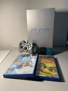 Sony PS2 Console Fat Silver + 2 Game + 2 Memory Cards + Dualshock 2 + All wires