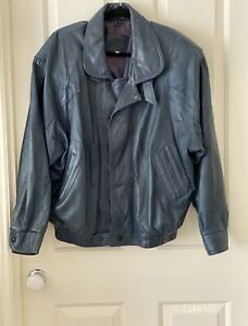 Best Factory Athens Leather Jacket Fully Lined Steel Blue Size XL
