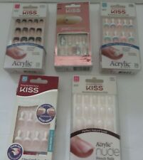 KISS Jewel Fantasy, Acrylic french nails, ultra comfort- lot of 5 Medium and RS