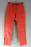 VINTAGE CLASSIC RED LEATHER BIKER TROUSERS: WAIST 28 INCHES/INSIDE LEG 29 INCHES