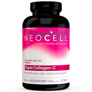 NeoCell Super Collagen +C, Type 1 & 3 250 Tablets FRESH, Made In USA