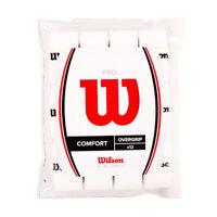 12 Pack Wilson Z4016WH Tennis Badminton Pro Overgrip Comfort White Sports