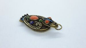 CHINESE GOLD FILLED Export Silver ENAMEL& NATURAL CORAL DUCK LOCKET PENDANT