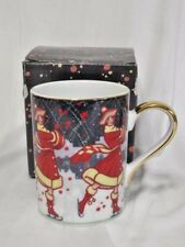 Dept 56 Winter Carnival Porcelain Coffee Tea Mug Gold Trim New