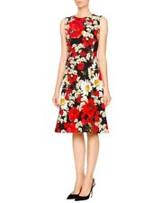 $5600 DOLCE & GABBANA Sleeveless Poppy & Daisy Print Dress Red Black White 40, 4