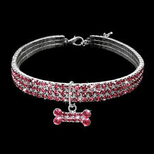 Full Bling Rhinestone Dog Necklace Collar Diamante & Pendant Pet Puppy Accessory
