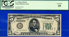 Rare 1928 $5 FRN (( Minneapolis )) PCGS Very-Fine 20 # I03104642A
