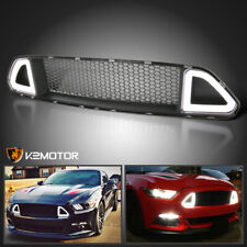 Fits 2015-2017 Ford Mustang Front Upper Hood Mesh Grille w/ Bright LED DRL Light