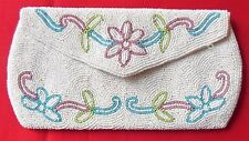 Vintage Jorelle Bags Clutch Purse White Seed Bead & Colored Floral Design Belgiu