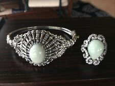 Bracelet Surrounded In Cubic Zirconia Stones Green Jade Sterling Silver Ring &