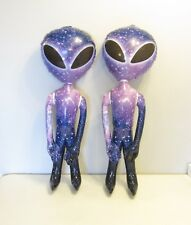 """2 NEW INFLATABLE PURPLE GALAXY SPACE ALIEN 36"""" ALIENS HALLOWEEN PARTY INFLATE"""