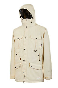L1 Essex Parka Insulated Snowboard Jacket, Mens Large, Cream Oiled Off-White New