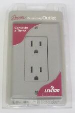 (2) Leviton Grounding Duplex Power Outlet With Wall Plate 15A-125V - Gray
