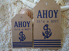 10 Brown Gift Tags Baby Shower Favour Bomboniere Ahoy its a boy nautical beach