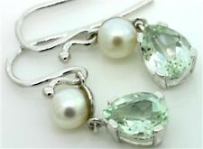 Green Amethyst & Pearl 9ct 9K Solid Gold Antique Style Earrings - 30 Day Return