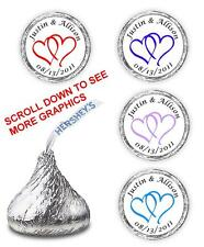 108 PERSONALIZED DOUBLE LINKED HEARTS WEDDING KISSES FAVORS STICKERS DECALS LOVE