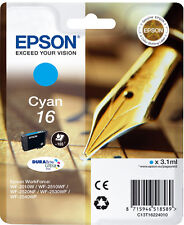 CARTOUCHE EPSON NEUVE 16 CYAN / stylo plume t16 t 16 t1622 workforce wf-2010w