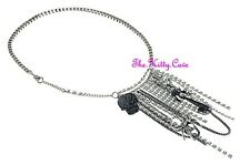 Rock Punk Tribal Retro Fringe Crystal Waterfall Tassel Statement Silver Necklace