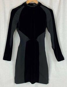 ZARA WOMAN Black Velvet Bodycon Party Dress XS