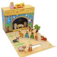 Niños Navidad Belén Caja Escena con Madera Figuras-89380