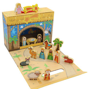 Children's Christmas Nativity Box Scene with Wooden Figures - 89380