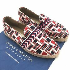 NWT $295 Stubbs & Wootton THOM BROWNE Brooks Brothers Flag Espadrille Shoes AUTH