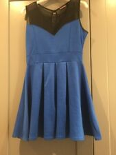 Blue Jersey Boohoo Skater Dress Sleeveless Mesh Size 12 Smart/Casual